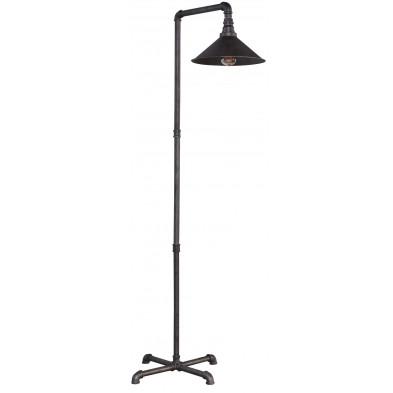 Lampadaire argenté industriel en acier L. 70 x P. 50 x H. 160 cm  collection Waterbury