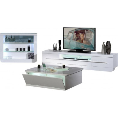 Ensemble meuble tv blanc design en cm de largeur collection Jessie