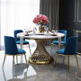 Table de salle à manger design rond plateau en marbre gris et piètement en acier inoxydable poli doré Collection MARCELO L. 130 x P. 130 x H. 76 cm